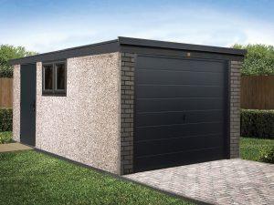 Grey pent garage