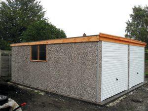 Pent double garage